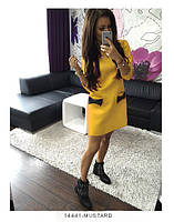 Удобное повседневное платье трапеция из французского трикотажа Fatsia S, Mustard