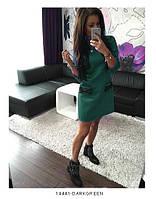 Удобное повседневное платье трапеция из французского трикотажа Fatsia S, Darkgreen