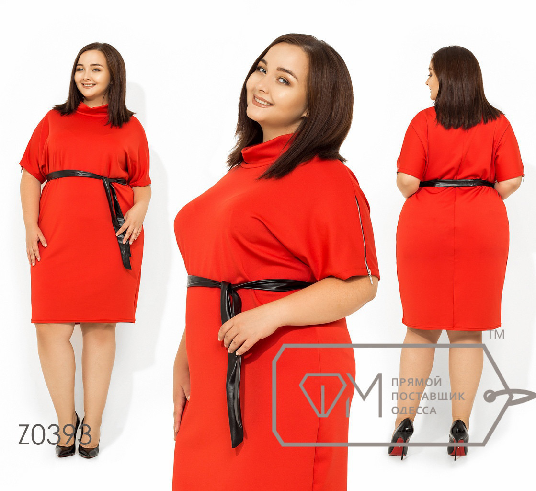Платье под пояс в больших размерах до колен FMZ0393