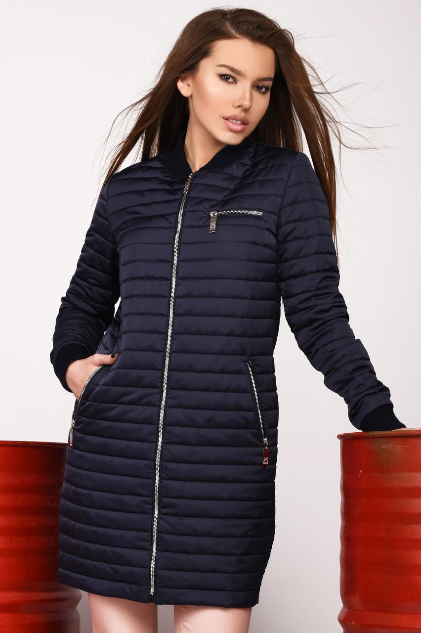 Синяя весенняя женская куртка удлиненная молодежная
