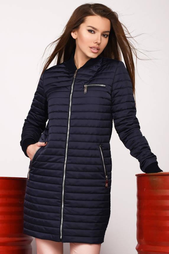 Синяя весенняя женская куртка удлиненная молодежная, фото 2