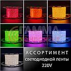 Світлодіодна стрічка 220В жовта AVT smd 2835-120 лід/м 4Вт/м, герметична. Бухта 50 метрів., фото 7
