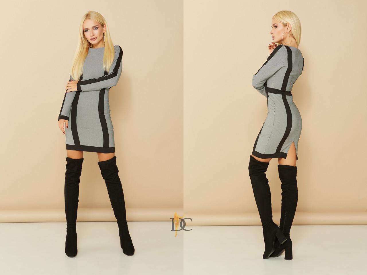 Облегающее платье в клетку с черными полосками 31plt1892