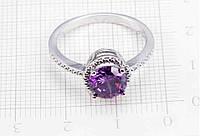 Серебряное кольцо, Кристалы,  с камнем, фиолетовый куб. цирконий, стерлинговое серебро, 925 проба, размер 19