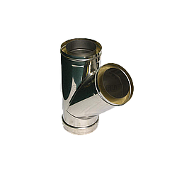 Тройник 45° утеплённый нерж/оцинк AISI 304
