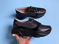 Кроссовки №478-38 черн кожа + никель надкол+пятка черн флотар (идеал 21913 черн), фото 1
