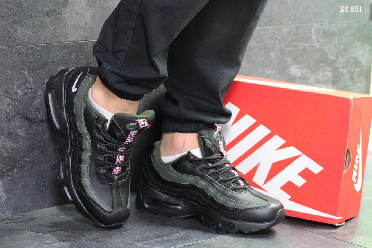 Мужские кроссовки Nike Air Max 95 (черно-зеленые)