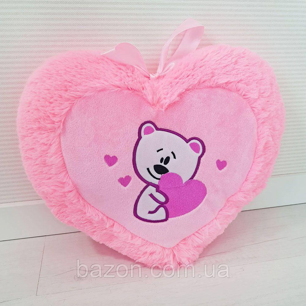 Подушка Сердце с мишкой 35 см
