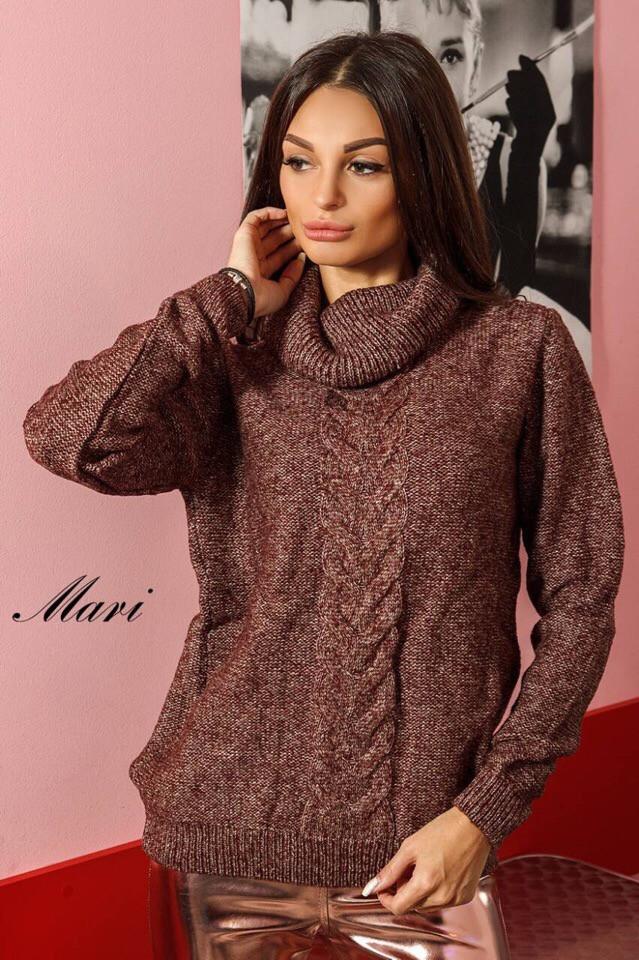 Женский теплый свитер с высоким горлом 63dis406
