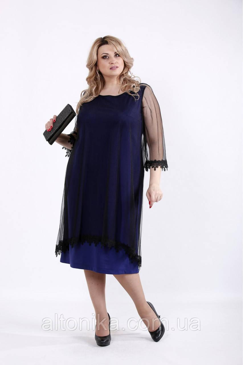 Трикотажное нарядное платье с органзой   42-74