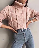 Женский вязаный свитер под горло Софт, пудра,  свитера женские