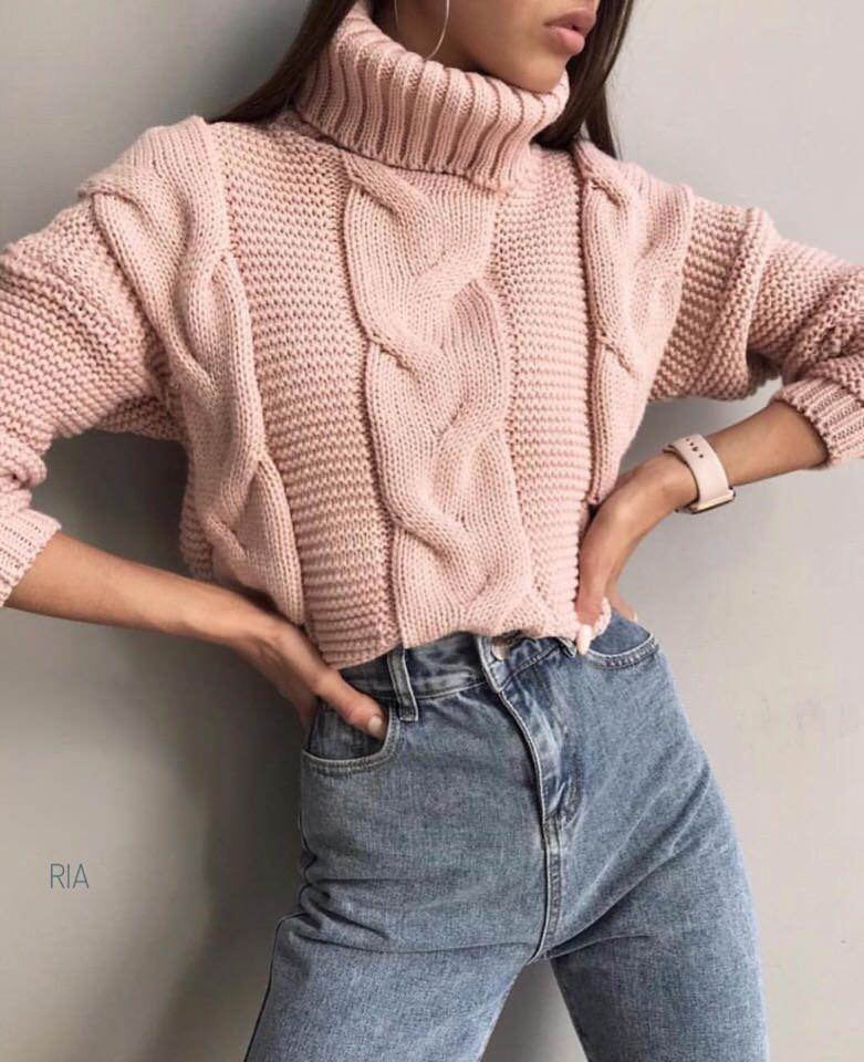 женский вязаный свитер под горло софт пудра свитера женские