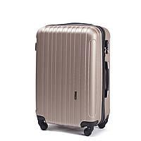 Большой пластиковый чемодан Wings 2011 на 4 колесах золотистый, фото 1
