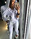 Женский белый бархатный спорт костюм с капюшоном 18spt481, фото 2