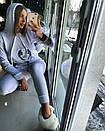 Женский белый бархатный спорт костюм с капюшоном 18spt481, фото 3