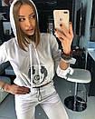 Женский белый бархатный спорт костюм с капюшоном 18spt481, фото 4