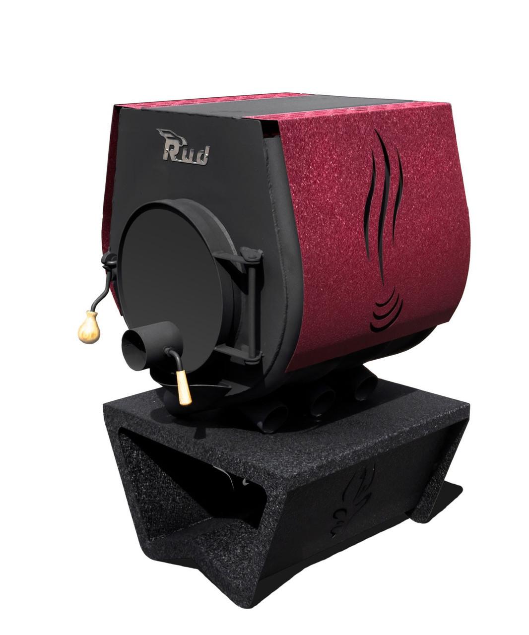 Отопительная конвекционная печь Rud Pyrotron Кантри 01 с варочной поверхностью S=80 кв.м. (бордовая)