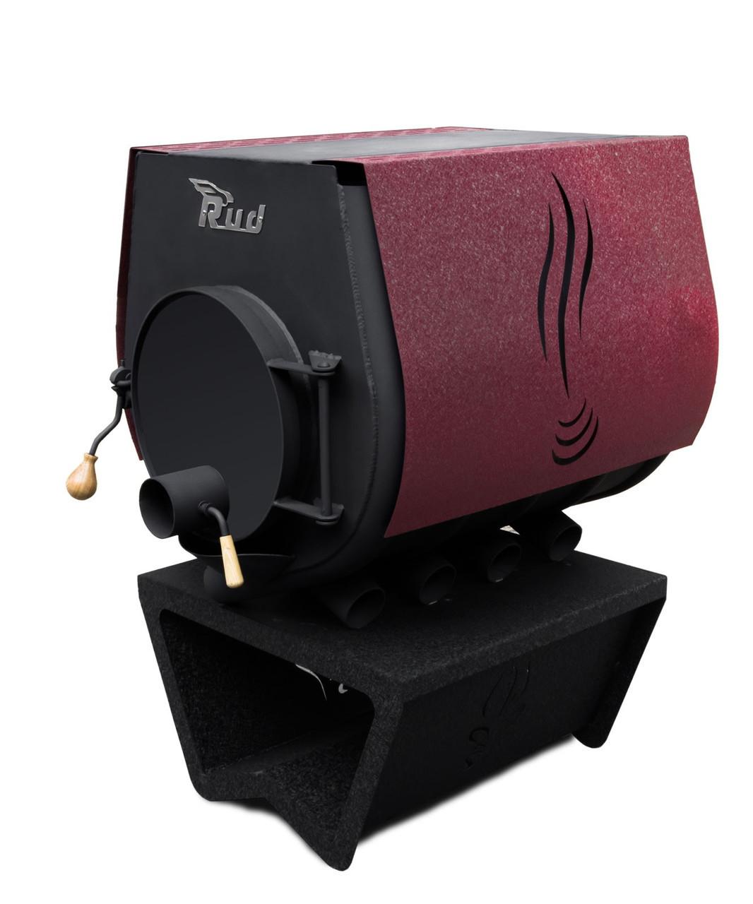 Отопительная печь Rud Pyrotron Кантри 02 с варочной поверхностью (S=120 кв.м. х 2,5 м) бордовая