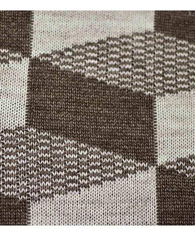 Вязаный плед CUBES коричнево-бежевый 130х180 см, фото 2