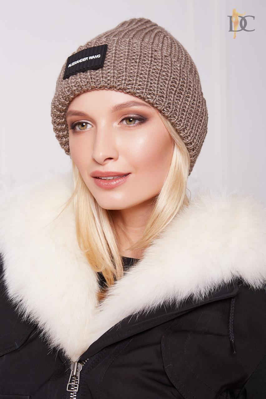 Женская теплая вязаная шапка с отворотом 31gol142
