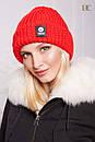 Женская теплая вязаная шапка с отворотом 31gol142, фото 4