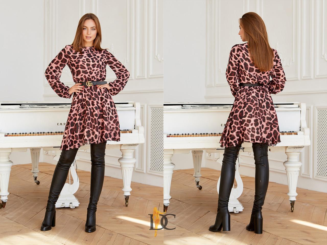 Шифоновое принтованное платье леопард 31plt1988
