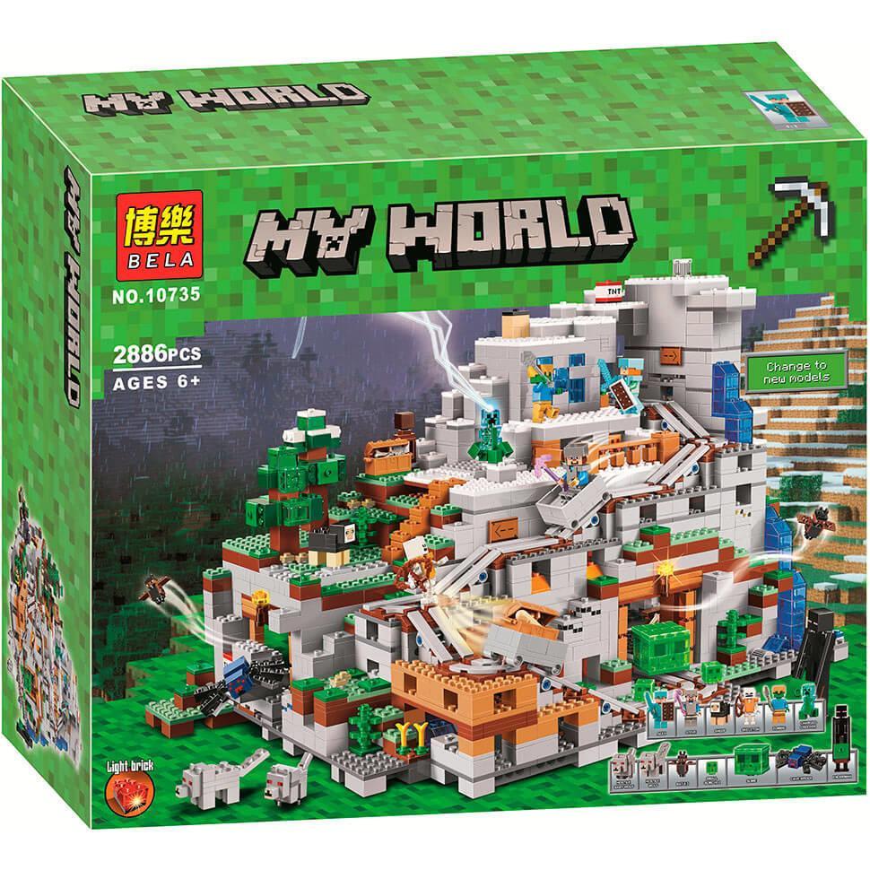 """Конструктор Bela 10735 Minecraft """"Горная пещера"""" Майнкрафт 2886 деталей. Аналог Лего Майнкрафт 21137"""