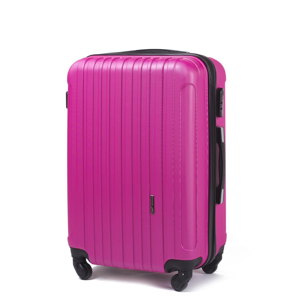 Большой пластиковый чемодан Wings 2011 на 4 колесах розовый