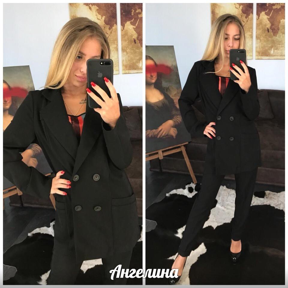 Брючный женский костюм с удлиненным жилетом 37kos861