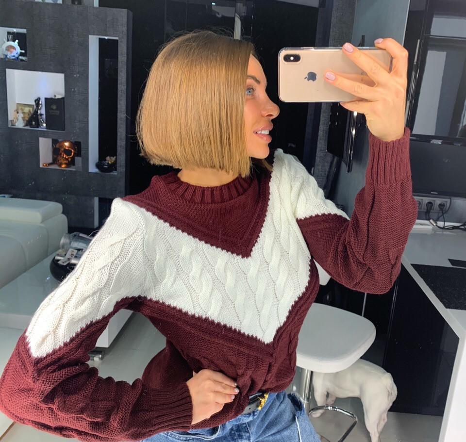 Вязаный свитер женский крупной вязки 18dis416
