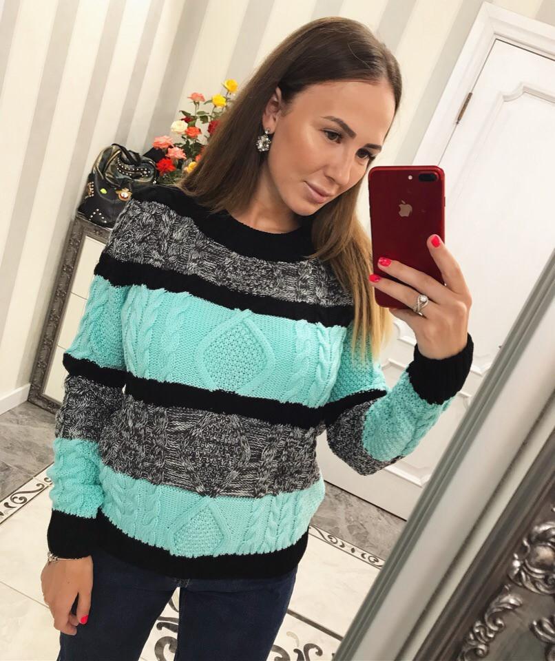 Полосатый женский свитер крупным узором 33dis422