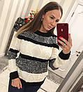 Полосатый женский свитер крупным узором 33dis422, фото 2