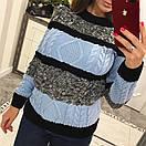 Полосатый женский свитер крупным узором 33dis422, фото 3