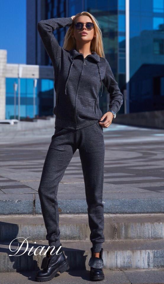 Спортивный женский костюм теплый с худи 14spt499