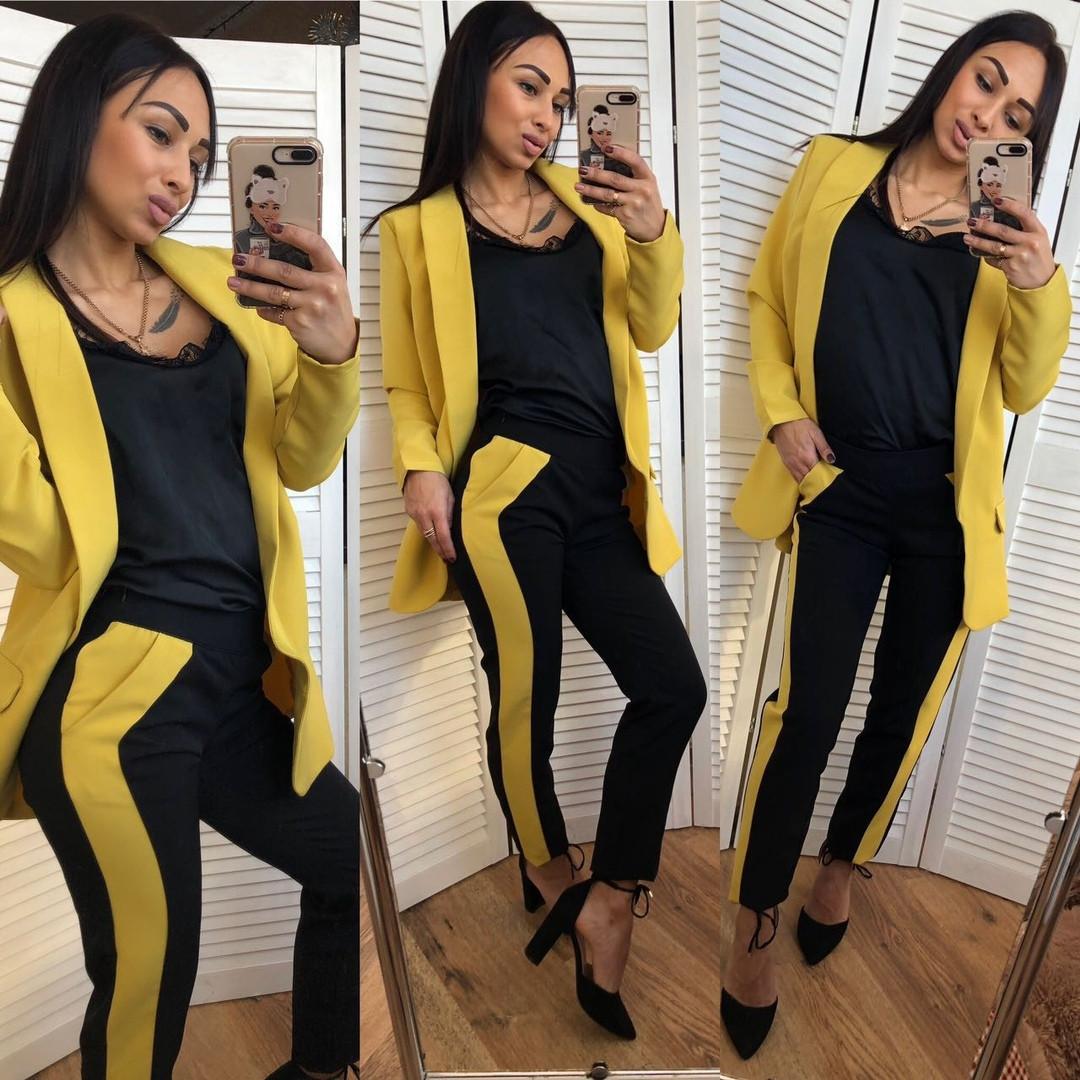 42514314aba Женский двухцветный брючный костюм-двойка - купить по лучшей цене в ...