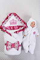 """Зимний комплект на выписку для новорожденного """"Очарование"""" малиновый"""