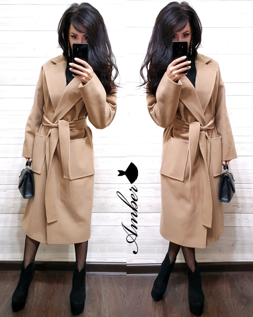 Кашемировое женское Пальто классика под пояс 8pal147
