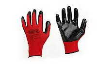 Перчатки с нитриловым покрытием р10 (красн+черн манжет без подвеса/хедера)