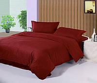 Двуспальный комплект постельного белья Сатин Stripe PREMIUM, BORDO / Постільна білизна сатин / 7A12C2 - 455