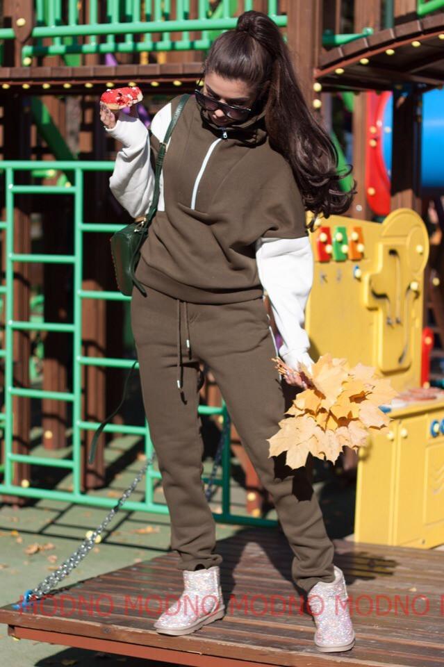 Утепленный женский костюм на флисе спорт 72spt515