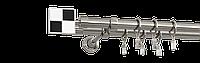 Карниз двойной 200см D19/19мм сталь нержавеющая ЧЕРНО-БЕЛОЕ