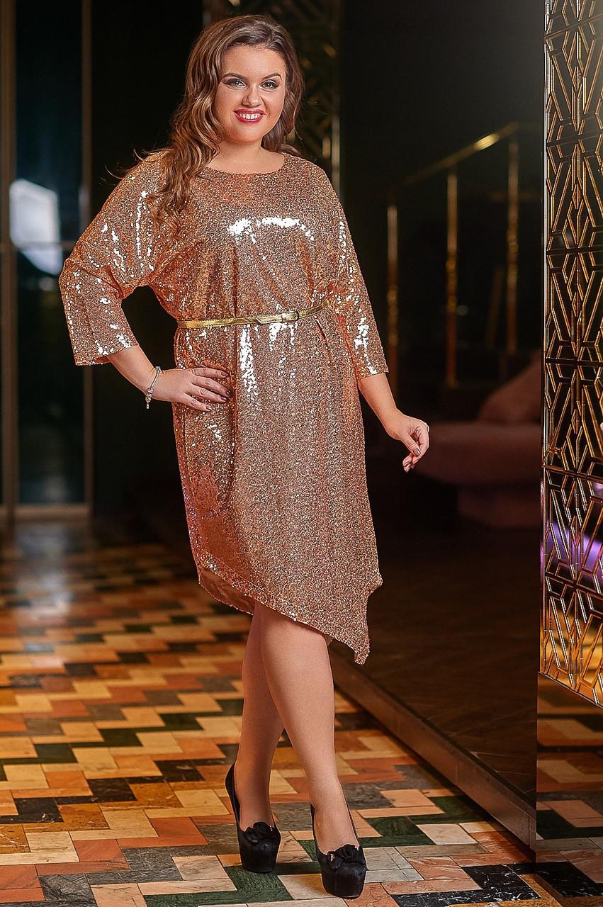 Платье в больших размерах из пайетки с асимметричным низом 53blr1147