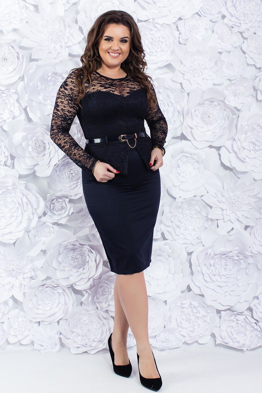 Элегантное платье с гипюром 48-54 р