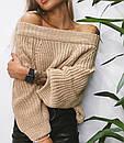Теплый женский вязаный свитер свободного кроя 68dis454, фото 4