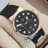 Часы Ulysse Nardin Maxi Marine Diver 0011 Black\Gold\Black реплика