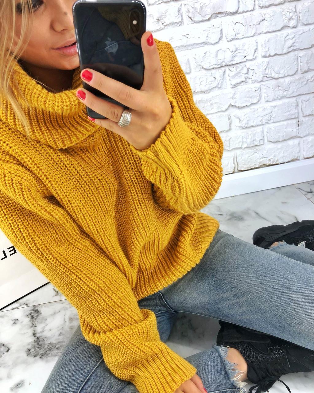 Теплый женский свитер свободный с горловиной 3dis458