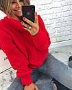 Теплый женский свитер свободный с горловиной 3dis458, фото 4