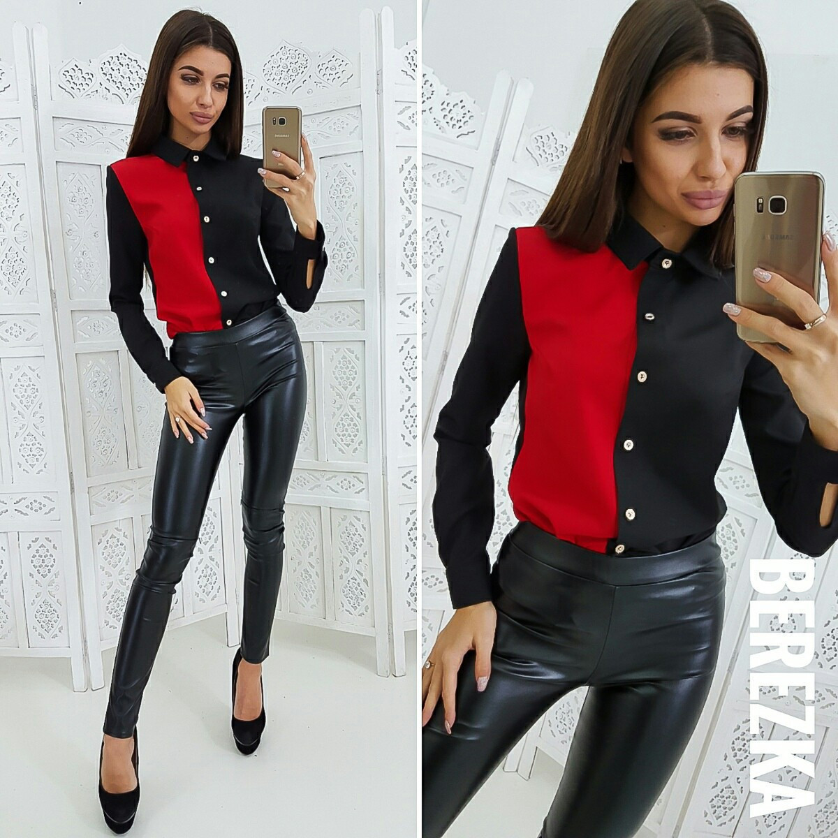 Двухцветная женская рубашка прямого кроя 66bir204