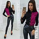 Двухцветная женская рубашка прямого кроя 66bir204, фото 3