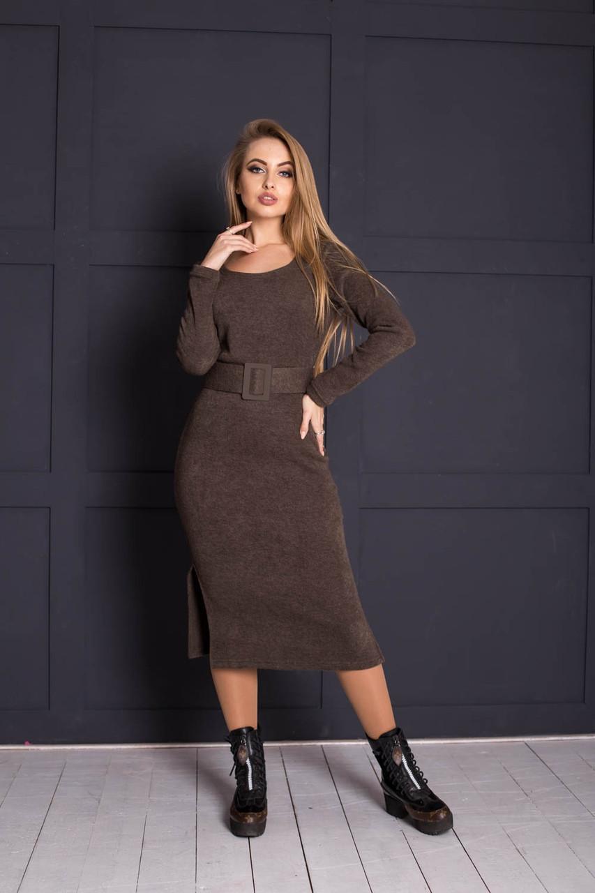 Ангоровое платье ниже колена с поясом 64plt2051